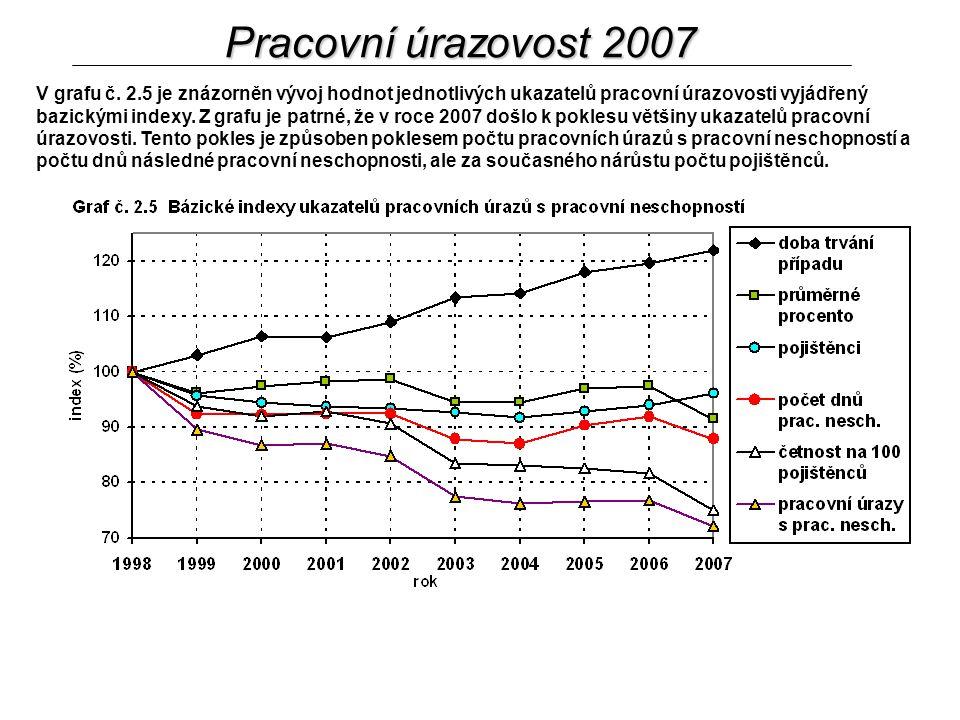V grafu č. 2.5 je znázorněn vývoj hodnot jednotlivých ukazatelů pracovní úrazovosti vyjádřený bazickými indexy. Z grafu je patrné, že v roce 2007 došl