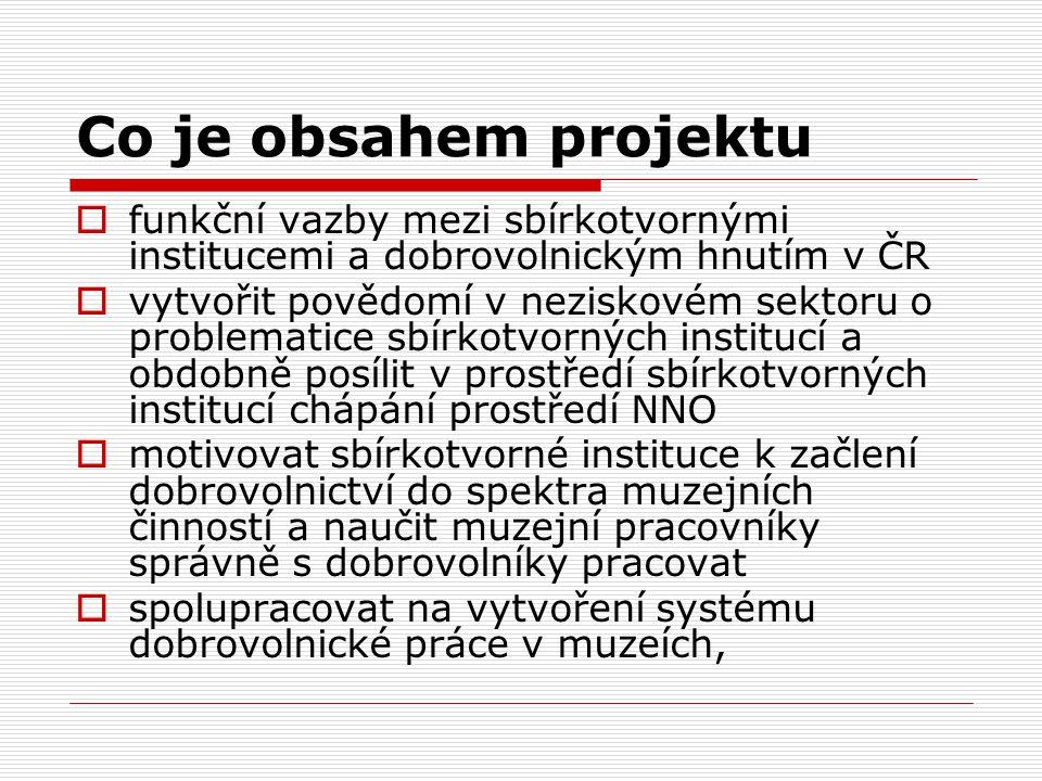 Co je obsahem projektu  funkční vazby mezi sbírkotvornými institucemi a dobrovolnickým hnutím v ČR  vytvořit povědomí v neziskovém sektoru o problem