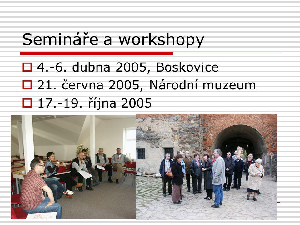 Semináře a workshopy  4.-6. dubna 2005, Boskovice  21. června 2005, Národní muzeum  17.-19. října 2005