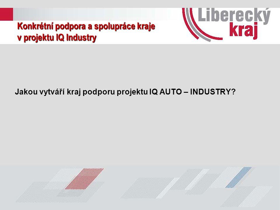 Konkrétní podpora a spolupráce kraje v projektu IQ Industry Jakou vytváří kraj podporu projektu IQ AUTO – INDUSTRY?