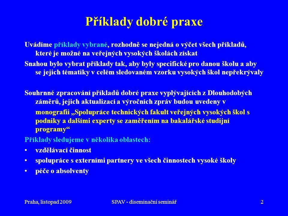 """Praha, listopad 2009SPAV - diseminační seminář2 Příklady dobré praxe Uvádíme příklady vybrané, rozhodně se nejedná o výčet všech příkladů, které je možné na veřejných vysokých školách získat Snahou bylo vybrat příklady tak, aby byly specifické pro danou školu a aby se jejich tématiky v celém sledovaném vzorku vysokých škol nepřekrývaly Souhrnné zpracování příkladů dobré praxe vyplývajících z Dlouhodobých záměrů, jejich aktualizací a výročních zpráv budou uvedeny v monografii """"Spolupráce technických fakult veřejných vysokých škol s podniky a dalšími experty se zaměřením na bakalářské studijní programy Příklady sledujeme v několika oblastech: •vzdělávací činnost •spolupráce s externími partnery ve všech činnostech vysoké školy •péče o absolventy"""