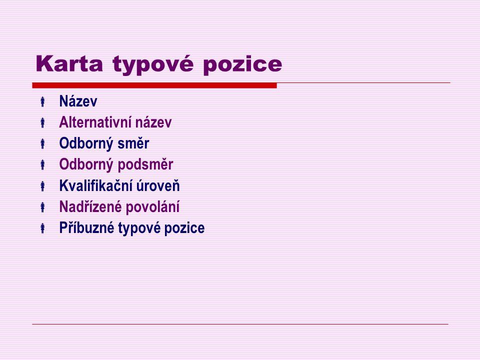 Karta typové pozice  Název  Alternativní název  Odborný směr  Odborný podsměr  Kvalifikační úroveň  Nadřízené povolání  Příbuzné typové pozice