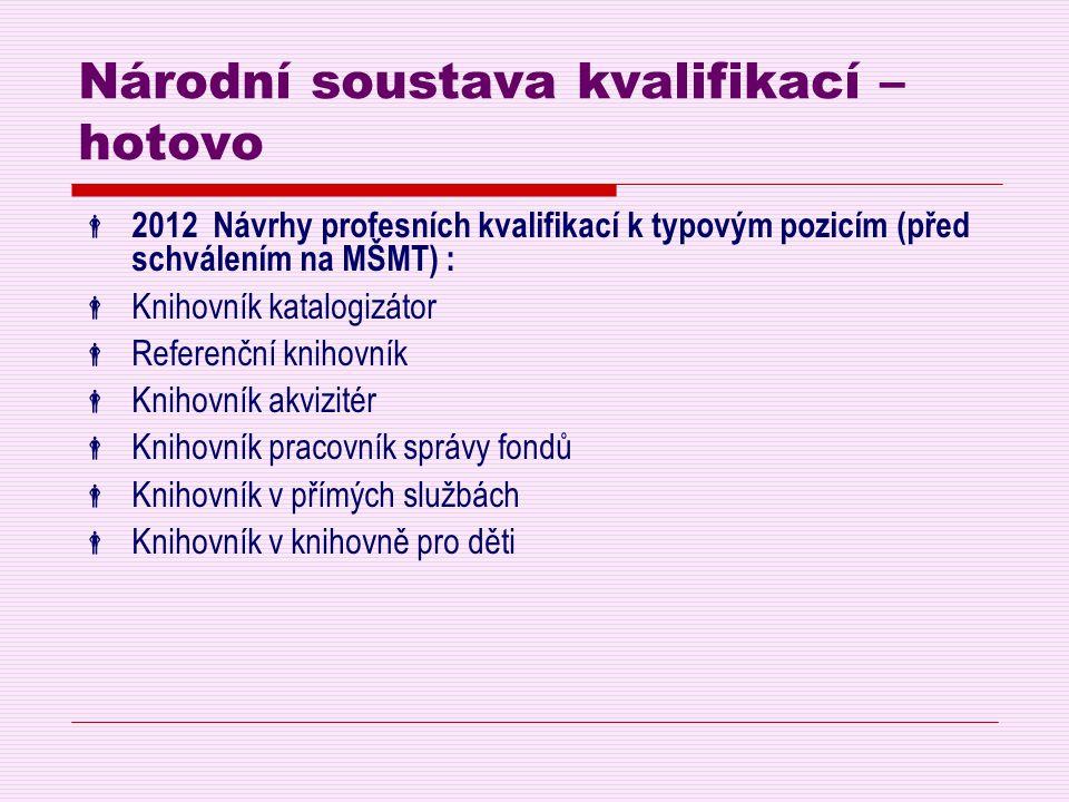 Národní soustava kvalifikací – hotovo  2012 Návrhy profesních kvalifikací k typovým pozicím (před schválením na MŠMT) :  Knihovník katalogizátor  R