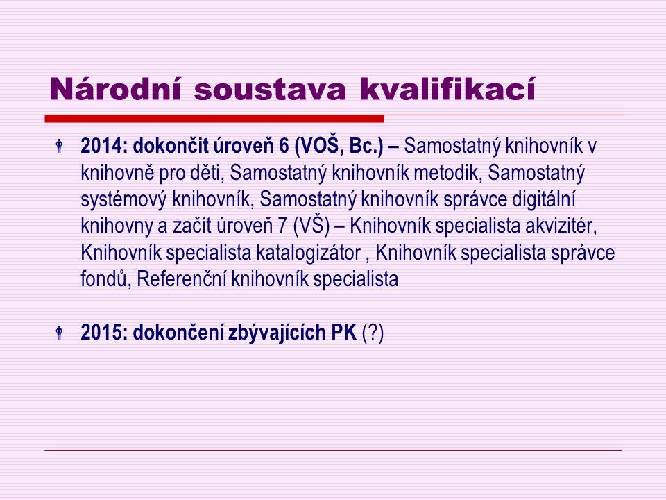 Národní soustava kvalifikací  2014: dokončit úroveň 6 (VOŠ, Bc.) – Samostatný knihovník v knihovně pro děti, Samostatný knihovník metodik, Samostatný