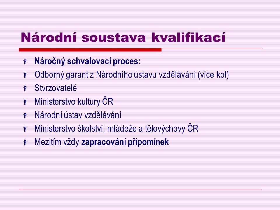 Národní soustava kvalifikací  Náročný schvalovací proces:  Odborný garant z Národního ústavu vzdělávání (více kol)  Stvrzovatelé  Ministerstvo kul