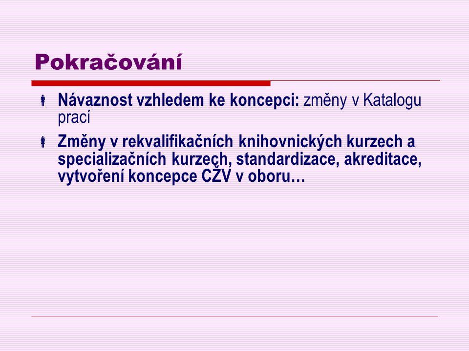 Pokračování  Návaznost vzhledem ke koncepci: změny v Katalogu prací  Změny v rekvalifikačních knihovnických kurzech a specializačních kurzech, stand