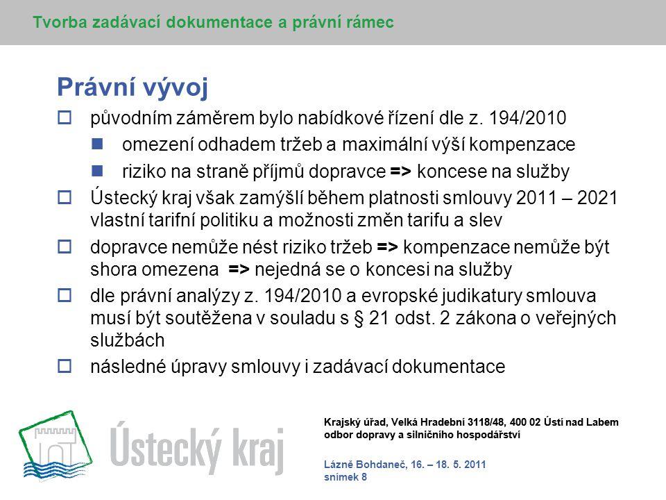 Lázně Bohdaneč, 16. – 18. 5. 2011 snímek 8 Krajský úřad, Velká Hradební 3118/48, 400 02 Ústí nad Labem odbor dopravy a silničního hospodářství Právní
