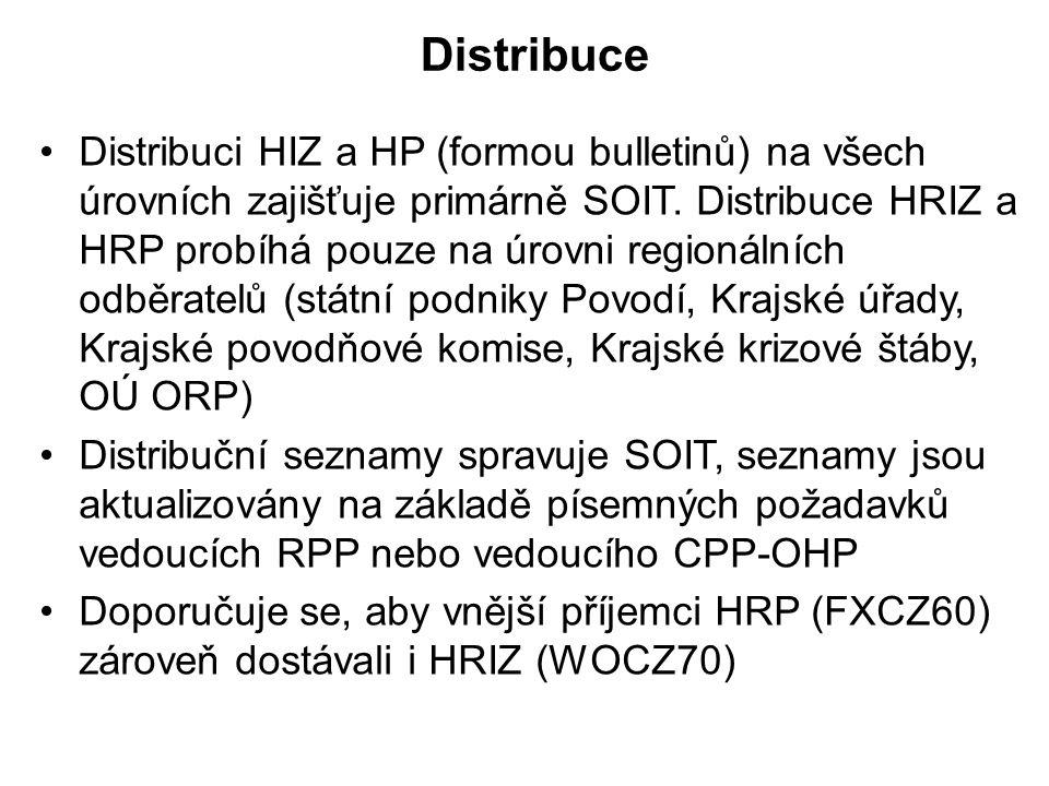 Distribuce •Distribuci HIZ a HP (formou bulletinů) na všech úrovních zajišťuje primárně SOIT. Distribuce HRIZ a HRP probíhá pouze na úrovni regionální