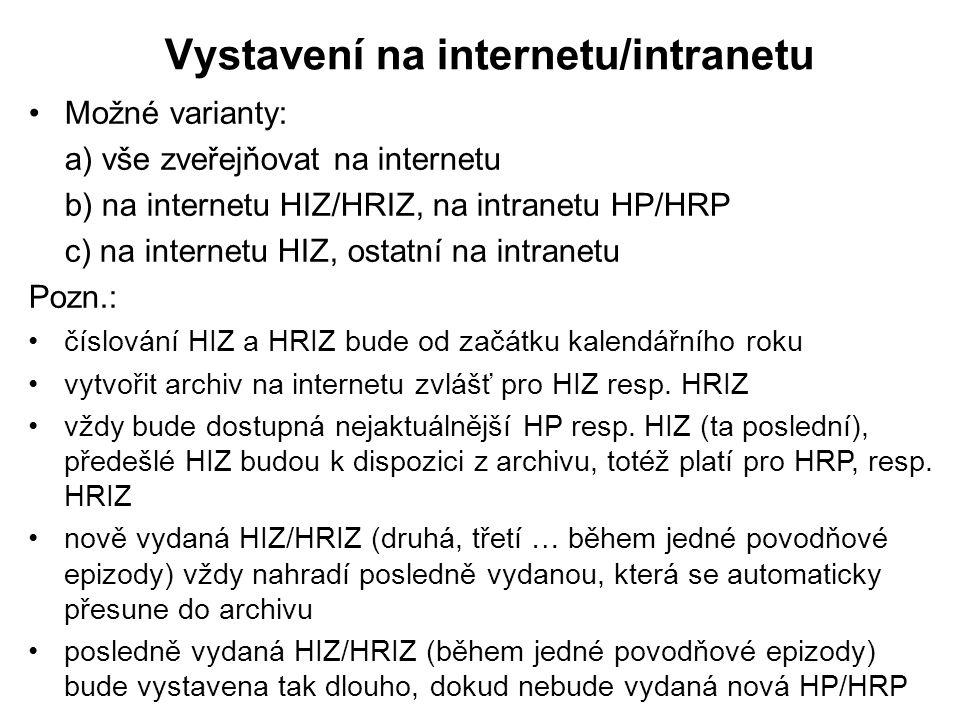 Vystavení na internetu/intranetu •Možné varianty: a) vše zveřejňovat na internetu b) na internetu HIZ/HRIZ, na intranetu HP/HRP c) na internetu HIZ, o