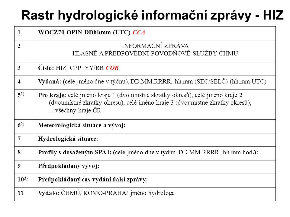 Rastr hydrologické informační zprávy - HIZ 1WOCZ70 OPIN DDhhmm (UTC) CCA 2INFORMAČNÍ ZPRÁVA HLÁSNÉ A PŘEDPOVĚDNÍ POVODŇOVÉ SLUŽBY ČHMÚ 3Číslo: HIZ_CPP