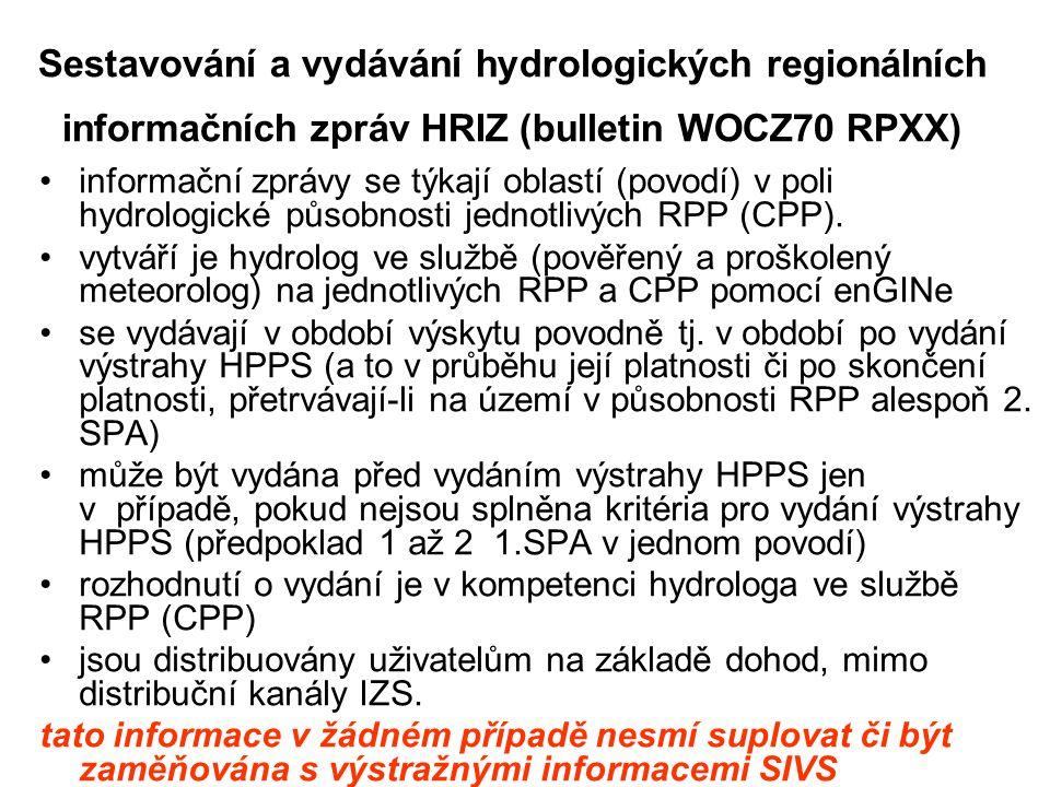 Sestavování a vydávání hydrologických regionálních informačních zpráv HRIZ (bulletin WOCZ70 RPXX) •informační zprávy se týkají oblastí (povodí) v poli