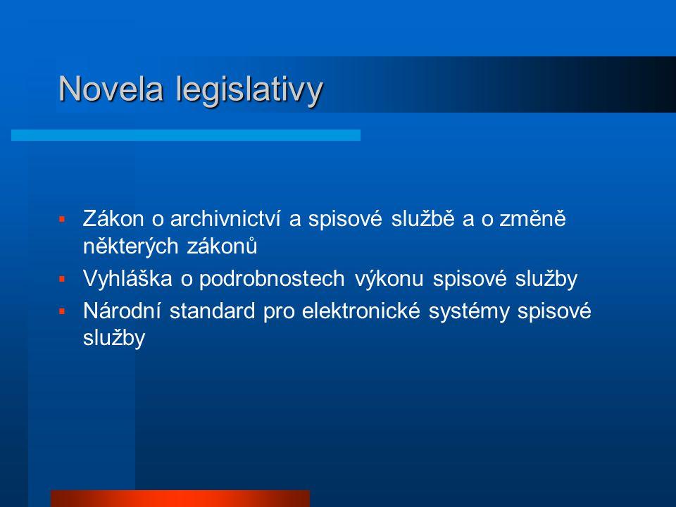 Novela legislativy  Zákon o archivnictví a spisové službě a o změně některých zákonů  Vyhláška o podrobnostech výkonu spisové služby  Národní stand