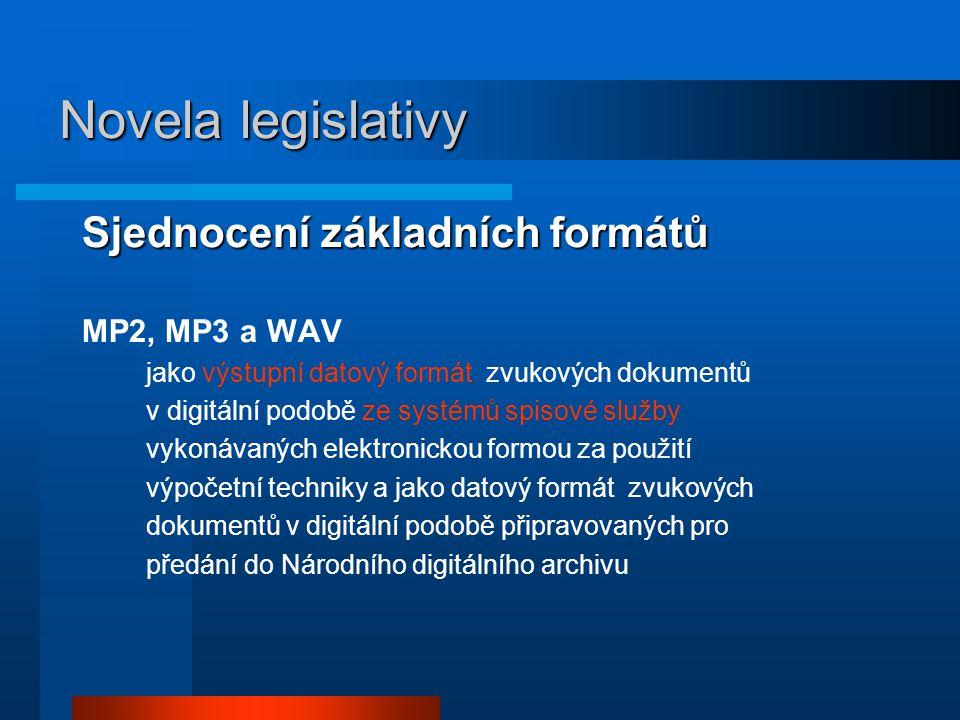 Sjednocení základních formátů MP2, MP3 a WAV jako výstupní datový formát zvukových dokumentů v digitální podobě ze systémů spisové služby vykonávaných