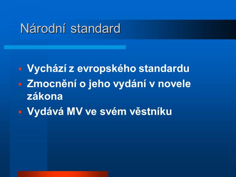 Národní standard  Vychází z evropského standardu  Zmocnění o jeho vydání v novele zákona  Vydává MV ve svém věstníku