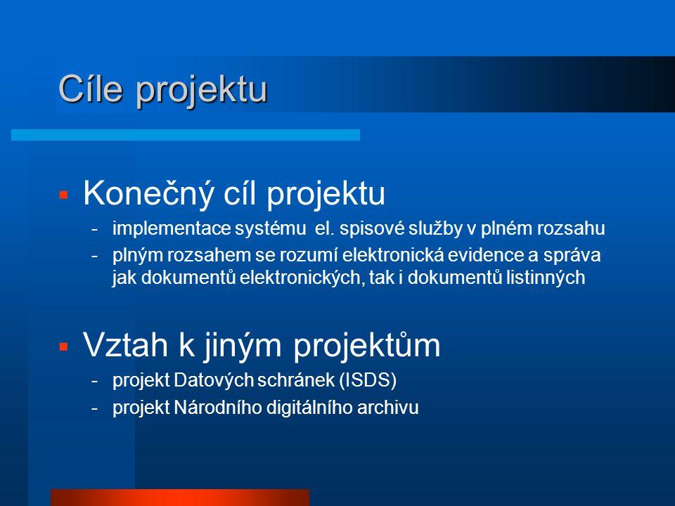 Cíle projektu  Konečný cíl projektu -implementace systému el. spisové služby v plném rozsahu -plným rozsahem se rozumí elektronická evidence a správa
