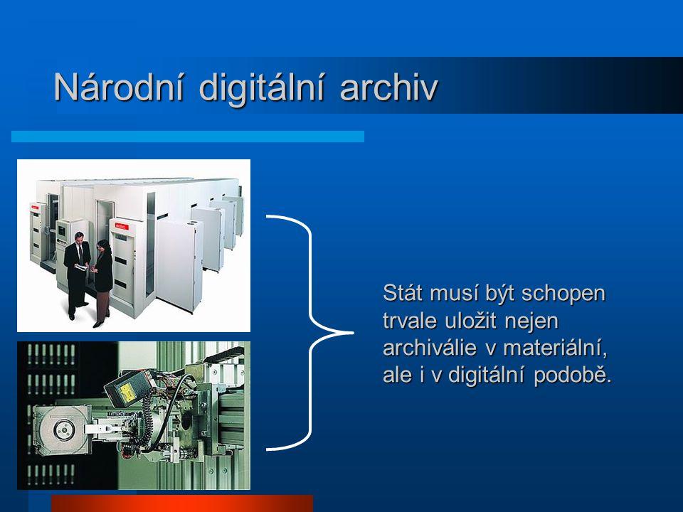 Národní digitální archiv Stát musí být schopen trvale uložit nejen archiválie v materiální, ale i v digitální podobě.