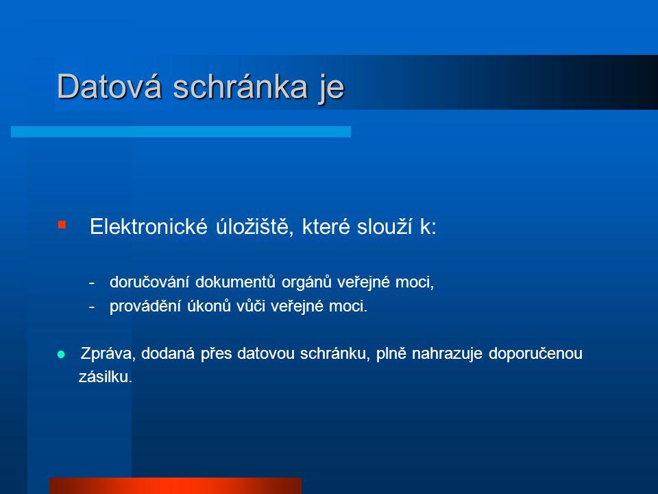 Datová schránka je  Elektronické úložiště, které slouží k: -doručování dokumentů orgánů veřejné moci, -provádění úkonů vůči veřejné moci.  Zpráva, d