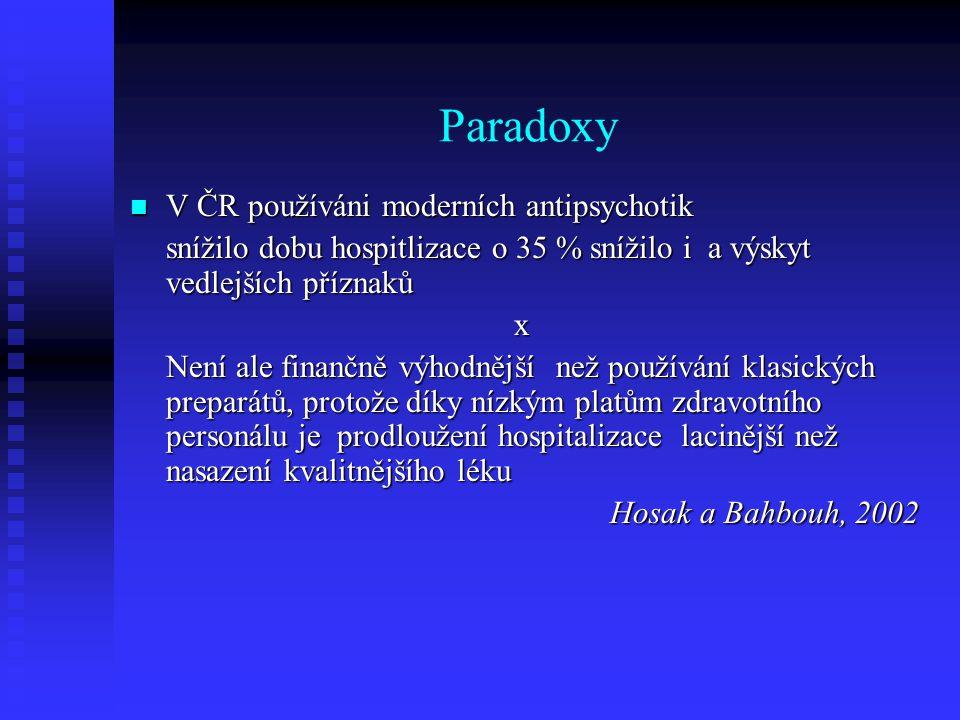 Paradoxy  V ČR používáni moderních antipsychotik snížilo dobu hospitlizace o 35 % snížilo i a výskyt vedlejších příznaků x Není ale finančně výhodněj