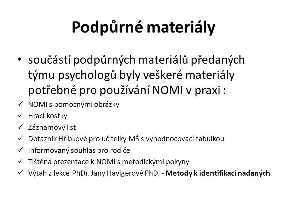 Podpůrné materiály • součástí podpůrných materiálů předaných týmu psychologů byly veškeré materiály potřebné pro používání NOMI v praxi :  NOMI s pom