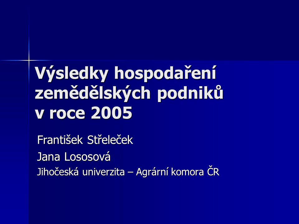 Výsledky hospodaření zemědělských podniků v roce 2005 František Střeleček Jana Lososová Jihočeská univerzita – Agrární komora ČR