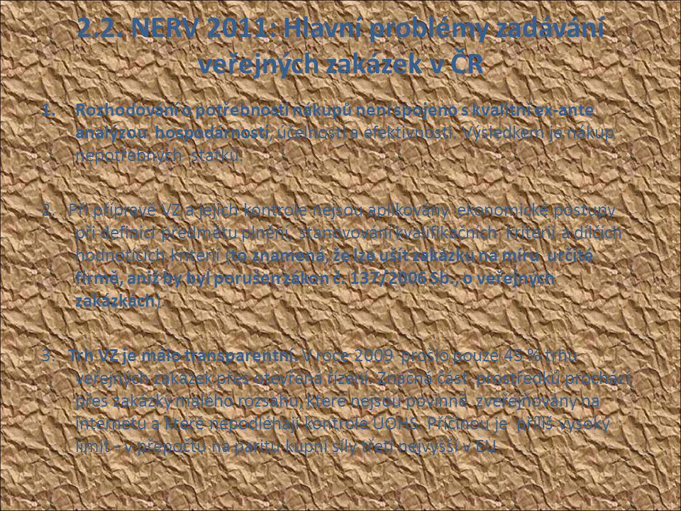 2.2. NERV 2011: Hlavní problémy zadávání veřejných zakázek v ČR 1.Rozhodování o potřebnosti nákupů není spojeno s kvalitní ex-ante analýzou hospodárno