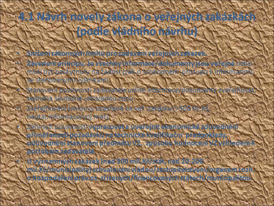 4.1 Návrh novely zákona o veřejných zakázkách (podle vládního návrhu) • Snížení zákonných limitů pro zadávání veřejných zakázek.