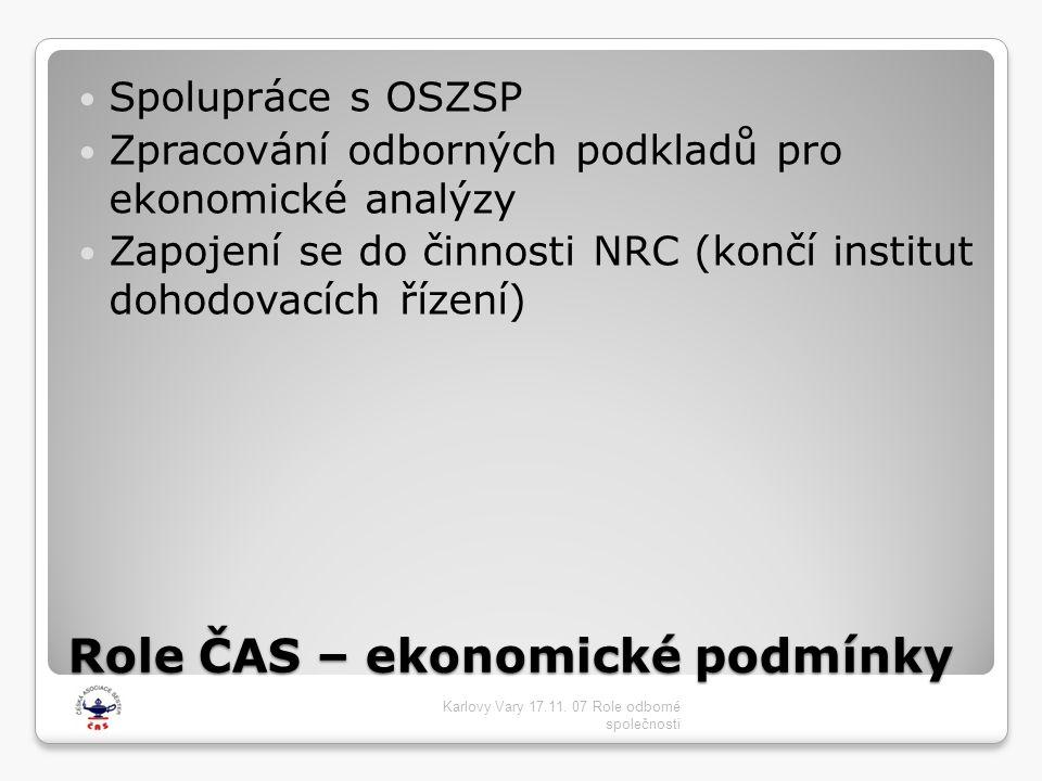 Role ČAS – ekonomické podmínky  Spolupráce s OSZSP  Zpracování odborných podkladů pro ekonomické analýzy  Zapojení se do činnosti NRC (končí instit