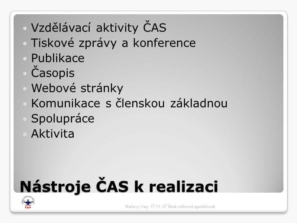 Nástroje ČAS k realizaci  Vzdělávací aktivity ČAS  Tiskové zprávy a konference  Publikace  Časopis  Webové stránky  Komunikace s členskou základnou  Spolupráce  Aktivita Karlovy Vary 17.11.
