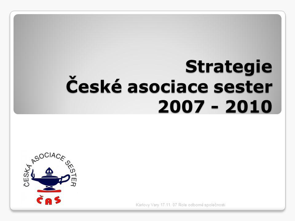 Strategie České asociace sester 2007 - 2010 Karlovy Vary 17.11. 07 Role odborné společnosti