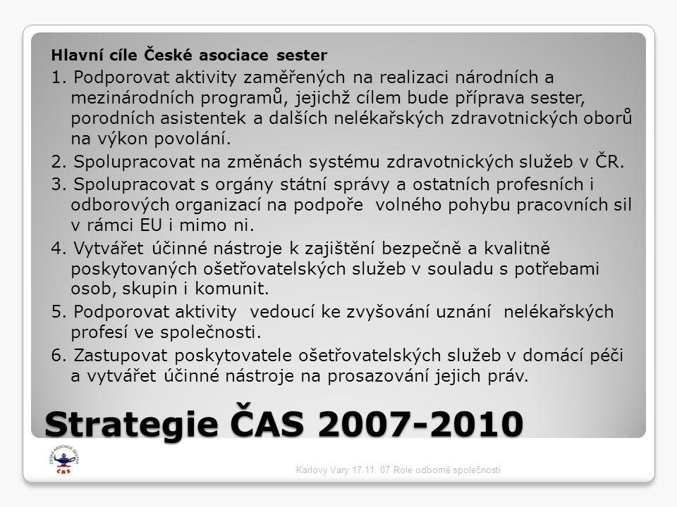 Strategie ČAS 2007-2010 Hlavní cíle České asociace sester 1. Podporovat aktivity zaměřených na realizaci národních a mezinárodních programů, jejichž c