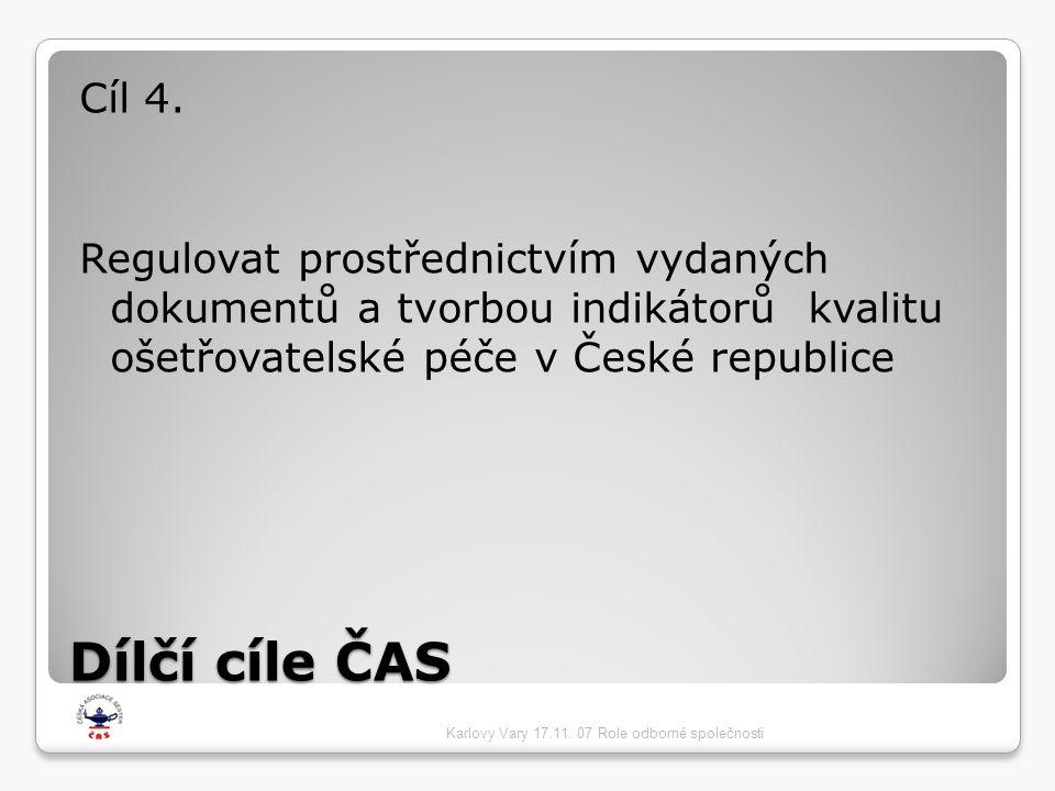 Dílčí cíle ČAS Cíl 4. Regulovat prostřednictvím vydaných dokumentů a tvorbou indikátorů kvalitu ošetřovatelské péče v České republice Karlovy Vary 17.