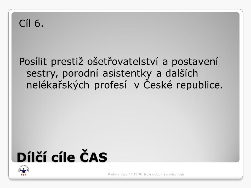 Dílčí cíle ČAS Cíl 6. Posílit prestiž ošetřovatelství a postavení sestry, porodní asistentky a dalších nelékařských profesí v České republice. Karlovy