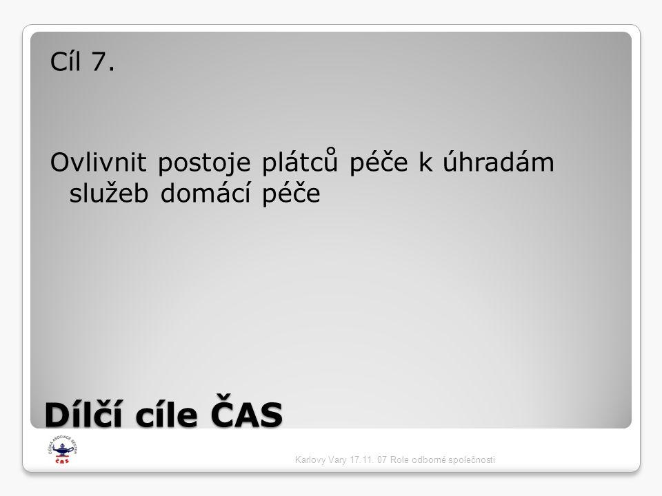 Dílčí cíle ČAS Cíl 7. Ovlivnit postoje plátců péče k úhradám služeb domácí péče Karlovy Vary 17.11. 07 Role odborné společnosti