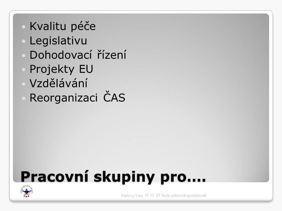 Pracovní skupiny pro….  Kvalitu péče  Legislativu  Dohodovací řízení  Projekty EU  Vzdělávání  Reorganizaci ČAS Karlovy Vary 17.11. 07 Role odbo
