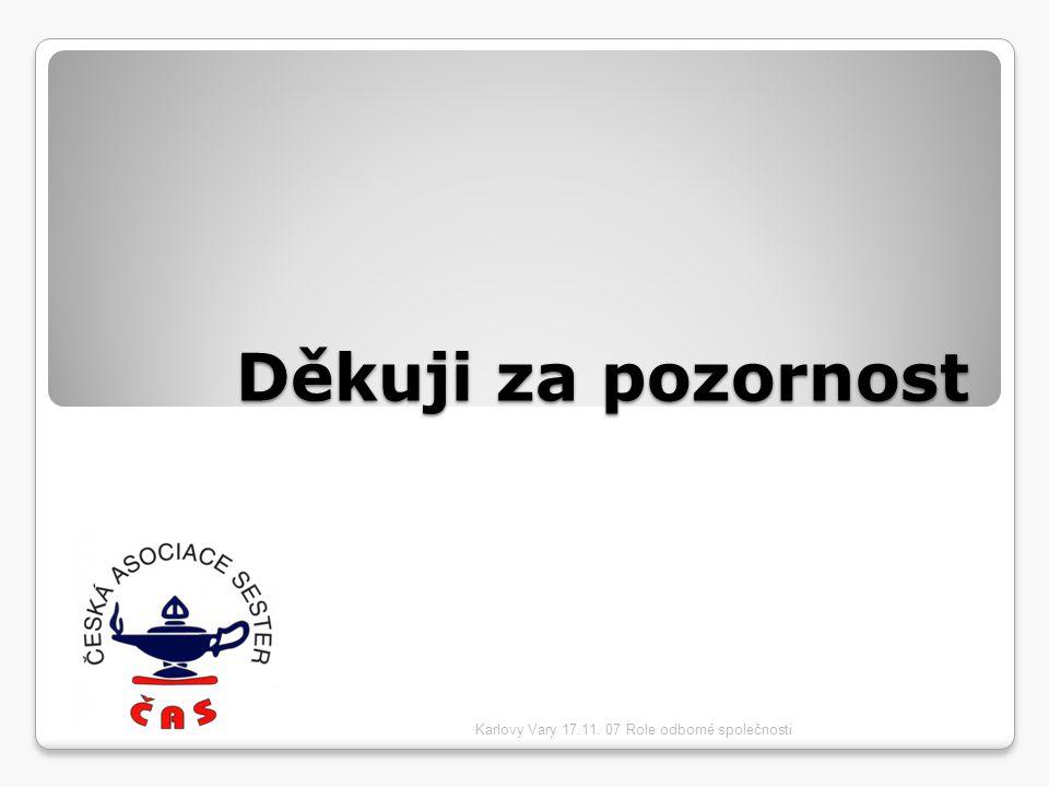Děkuji za pozornost Karlovy Vary 17.11. 07 Role odborné společnosti