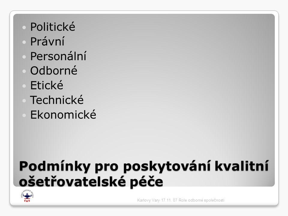 Podmínky pro poskytování kvalitní ošetřovatelské péče  Politické  Právní  Personální  Odborné  Etické  Technické  Ekonomické Karlovy Vary 17.11.