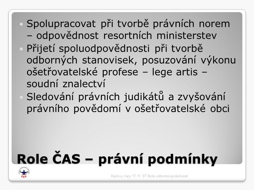 Role ČAS – právní podmínky  Spolupracovat při tvorbě právních norem – odpovědnost resortních ministerstev  Přijetí spoluodpovědnosti při tvorbě odborných stanovisek, posuzování výkonu ošetřovatelské profese – lege artis – soudní znalectví  Sledování právních judikátů a zvyšování právního povědomí v ošetřovatelské obci Karlovy Vary 17.11.