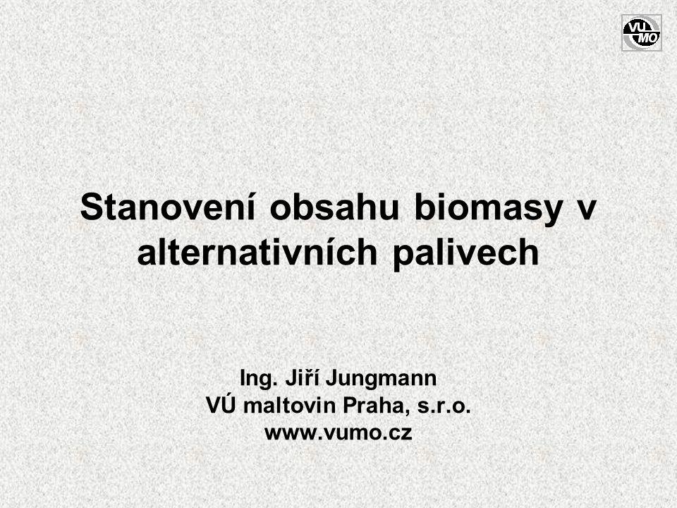 Stanovení obsahu biomasy v alternativních palivech Ing. Jiří Jungmann VÚ maltovin Praha, s.r.o. www.vumo.cz