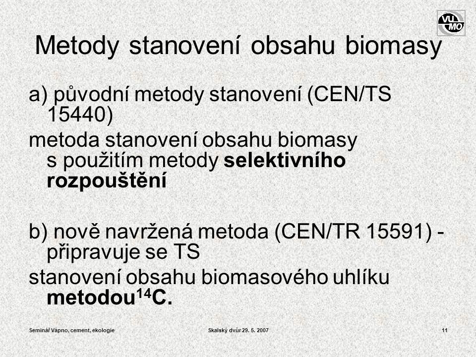 Seminář Vápno, cement, ekologieSkalský dvůr 29. 5. 200711 Metody stanovení obsahu biomasy a) původní metody stanovení (CEN/TS 15440) metoda stanovení
