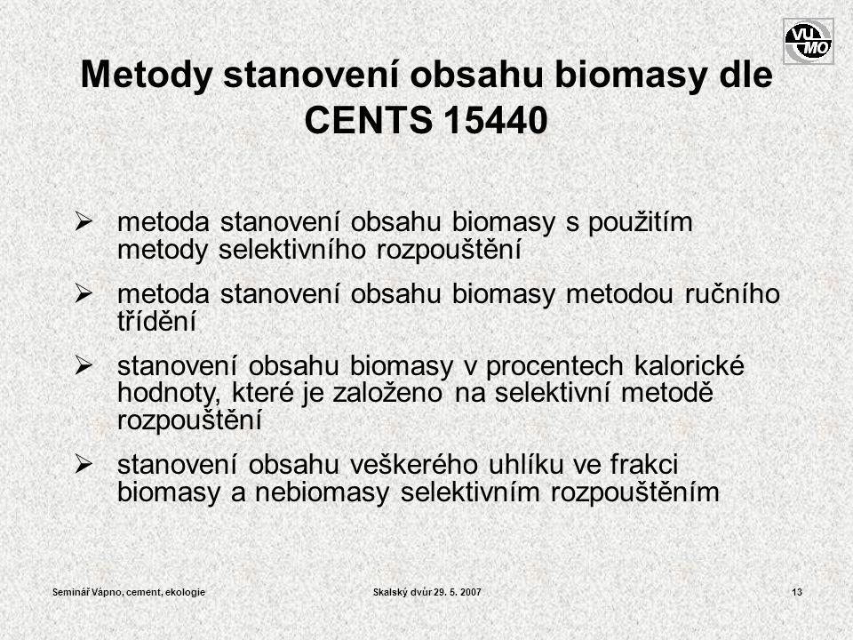 Seminář Vápno, cement, ekologieSkalský dvůr 29. 5. 200713 Metody stanovení obsahu biomasy dle CENTS 15440  metoda stanovení obsahu biomasy s použitím