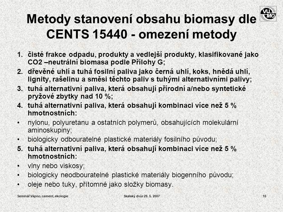 Seminář Vápno, cement, ekologieSkalský dvůr 29. 5. 200715 Metody stanovení obsahu biomasy dle CENTS 15440 - omezení metody 1.čisté frakce odpadu, prod
