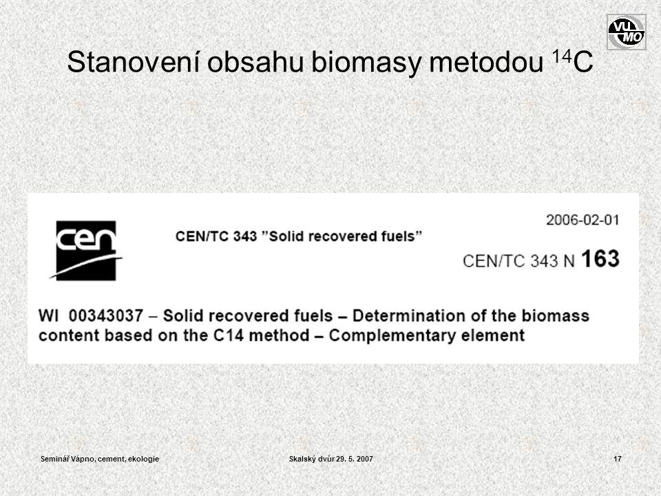 Seminář Vápno, cement, ekologieSkalský dvůr 29. 5. 200717 Stanovení obsahu biomasy metodou 14 C