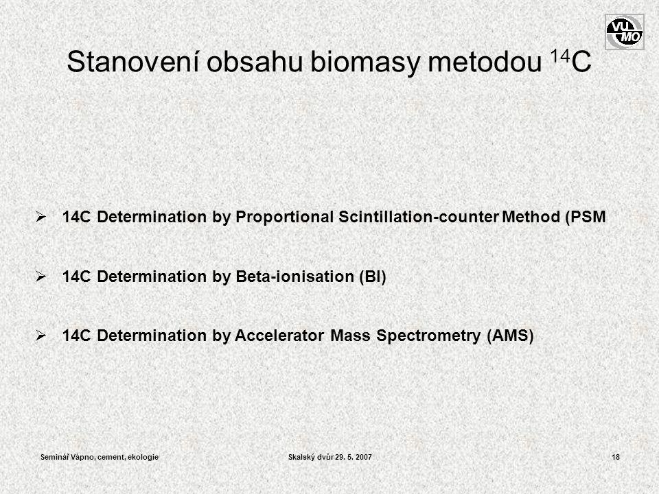 Seminář Vápno, cement, ekologieSkalský dvůr 29. 5. 200718  14C Determination by Proportional Scintillation-counter Method (PSM  14C Determination by