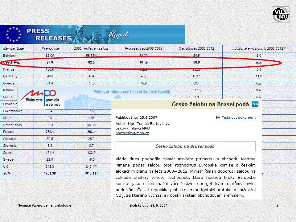 Seminář Vápno, cement, ekologieSkalský dvůr 29. 5. 200723 Vzorek směsného TAP 2006/153