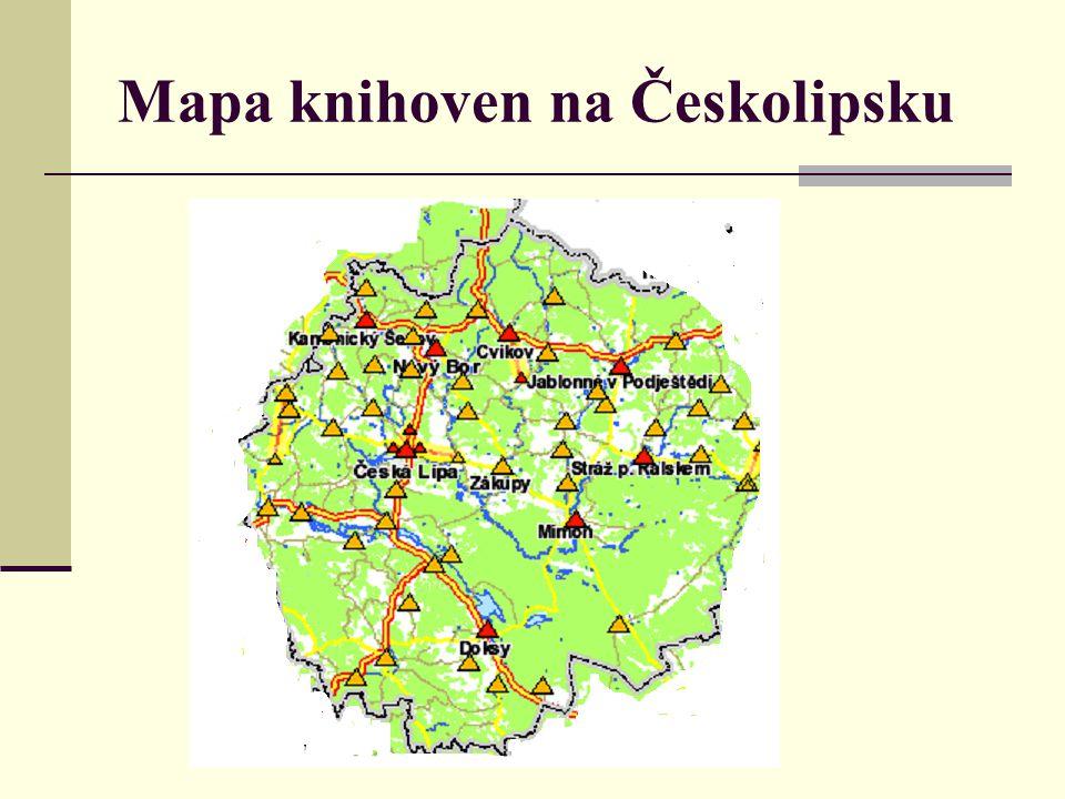 Mapa knihoven na Českolipsku