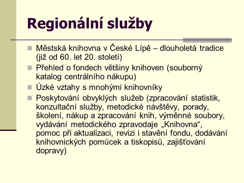 Regionální služby  Městská knihovna v České Lípě – dlouholetá tradice (již od 60. let 20. století)  Přehled o fondech většiny knihoven (souborný kat