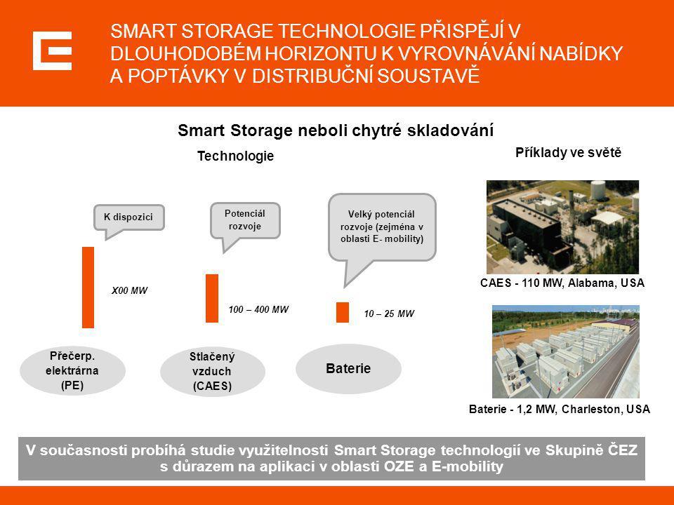 SMART STORAGE TECHNOLOGIE PŘISPĚJÍ V DLOUHODOBÉM HORIZONTU K VYROVNÁVÁNÍ NABÍDKY A POPTÁVKY V DISTRIBUČNÍ SOUSTAVĚ CAES - 110 MW, Alabama, USA Baterie