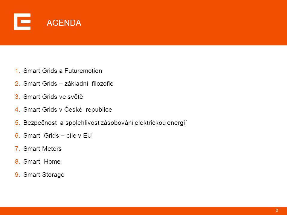 2 AGENDA 1.Smart Grids a Futuremotion 2.Smart Grids – základní filozofie 3.Smart Grids ve světě 4.Smart Grids v České republice 5.Bezpečnost a spolehl