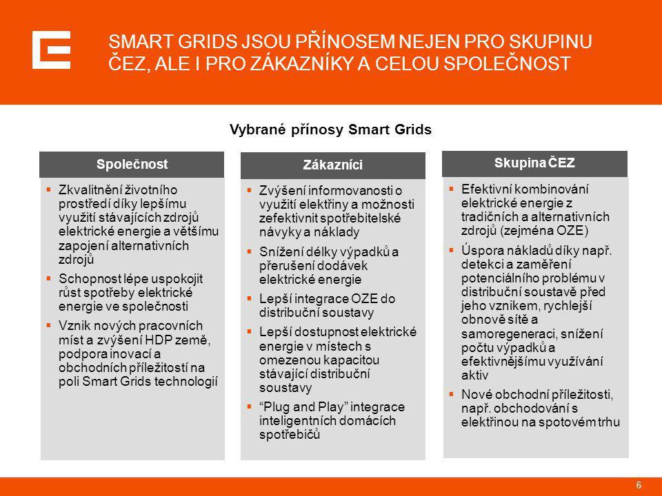 6 SMART GRIDS JSOU PŘÍNOSEM NEJEN PRO SKUPINU ČEZ, ALE I PRO ZÁKAZNÍKY A CELOU SPOLEČNOST Vybrané přínosy Smart Grids Skupina ČEZ  Efektivní kombinov