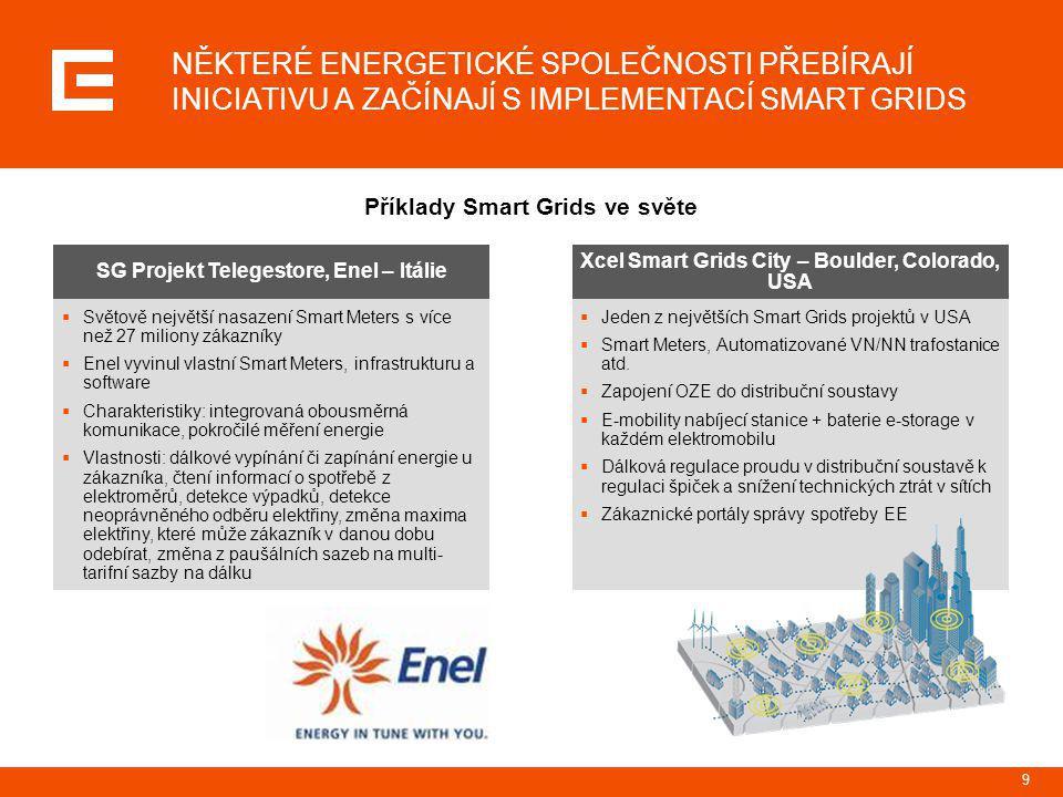 9 NĚKTERÉ ENERGETICKÉ SPOLEČNOSTI PŘEBÍRAJÍ INICIATIVU A ZAČÍNAJÍ S IMPLEMENTACÍ SMART GRIDS Příklady Smart Grids ve světe SG Projekt Telegestore, Ene